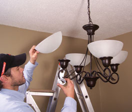 The final step is to install the glass and light bulbs. Balance the light output by using lower wattage bulbs for fixtures with several sockets, and using higher wattage bulbs for fixtures with fewer sockets.