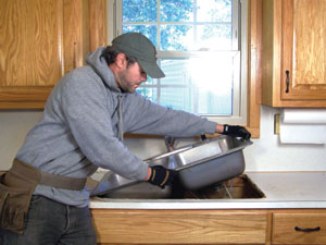 Removing the sink DIY Tile Countertop