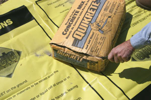 Small jobs can be poured using bagged concrete, which can be easily mixed and poured using a Crete-sheet mixing bag.