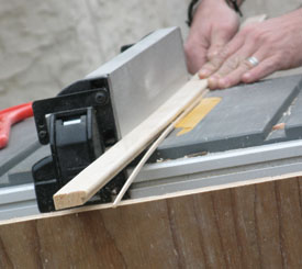 Cut new trim pieces. Use the Originals as gauges to set up your saw; use a nice blade to minimize cutting marks.