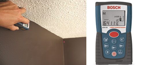 The new Bosch DLR165K Digital Laser Range Finder can take an ccurate wall-to-wall measurement with the push of a button.