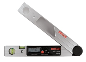 Here's another handy measuring tool. For unusual angles and out-of-square walls, the new Bosch DAF220K digital angle finder can give you a precise, easy-to-read measure of the angle.