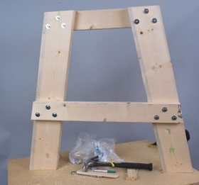 Shown is the assembled leg set from inside.