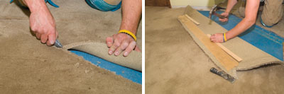 Left: Cut back the carpet in a location that is somewhat inside the new flooring area. Right: Fold the carpet back and tack it into place for the duration of the hardwood floor installation.