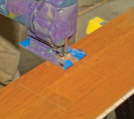 Avoid locking the pieces together when scribing and test fitting pieces on an irregular obstacle.