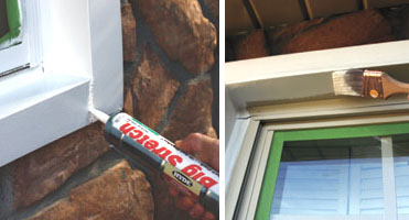 """Left: Seal all the windows and doors with a high-quality exterior caulk. Right: We taped off the windows and painted them with a 2"""" brush."""