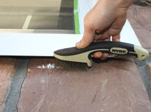 A wire brush can remove accidental paint marks form stone and masonry.