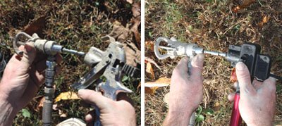 Switch the Hyde RVT nozzle from sprayer to extension pole in a snap.
