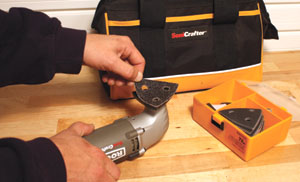 Rockwell's SoniCrafter oscillating tool is available with a variety of sanding and polishing attachments for work with wood, plastic and hardened fillers.