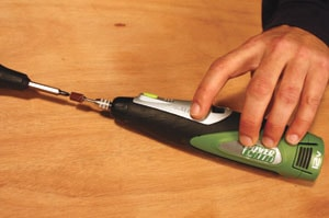 Rotary tools, such as the cordless Powersmith Mag Lith-ion Compact Hobby Tool, can be equipped for detail sanding applications.