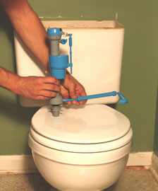 On the second toilet we installed the HydroClean 660 fill valve, which includes a pipeline of water jets that cleans the bottom of the tank.