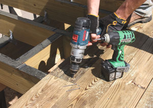 Predrill the ends of the deck boards before fastening to prevent splitting the wood grain.