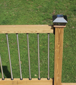 Building a deck gives you the opportunity to add a personal touch, from decorative rail systems to integrated lighting and much more. Shown here are stainless steel balusters and solar post caps from Maine Ornamental (www.deckorators.com).