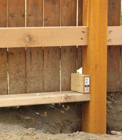 Shown here is a U-jig in action, used for consistent spacing of the posts.