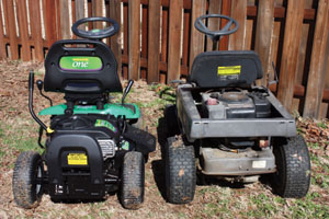 With smaller wheels and fewer metal components, the WeedEater One weighs less and handles more nimbly than older mowers of similar style.
