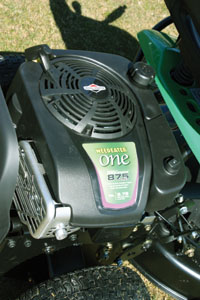 A Briggs & Stratton 875 series engine powers the mower and blade.