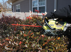 The One+ cordless hedge trimmer weighs only 6.2 pounds and features 18-inch dual action blades, 2,400 strokes per minute and a 3/8-inch cut capacity.