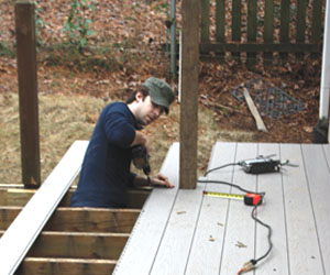 As the decking is installed the boards interconnect with a tongue-and-groove system that conceals all the fasteners.