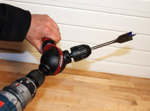 The Orbiter attachment enables the user to drill and drive at virtually any angle.