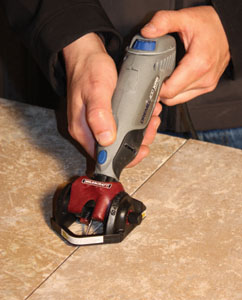 Grout-removal attachments enable a rotary tool to cut away old grout without damaging tile.