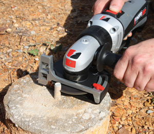 A spiral-saw equipped with a cutoff attachment can cut wood, chop pipe and trim J-bolts from concrete pier footings.