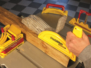 Milescraft manufactures a line of table saw accessories, including the D/T Featherboard, the PushStick and the BladeChanger.