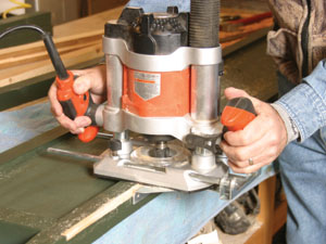 Using a plunge router, cut a 1/4 x 3/8-inch rabbet in the back inside edges of the leg posts stopping at the legs.
