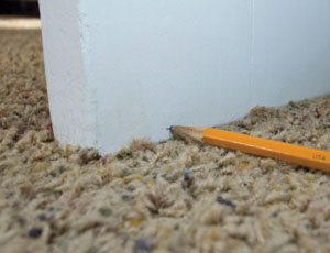 Lay a pencil on the carpet to mark the cut-off elevation on the door face.