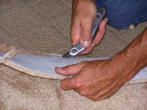 Trim away any excess with a carpet knife.