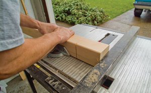 Any time you do a crosscut operation on the table saw; make sure to use the miter gauge.
