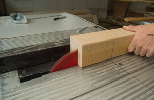 Use the table saw fence to determine the side-to-side location, and use the line on the table saw surface to determine the length of the cuts.