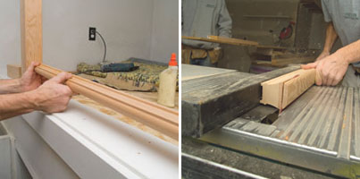 Left: We used a plowed shoe rail, which we installed from the newel post to the exterior wall. Right: For the section of guardrail which was fastened to the ceiling rake, we removed the top radius from the rail with the table saw.