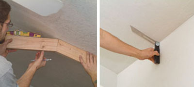 Left: Use scrap material and a torpedo level to determine the angles where the level guardrail meets the rake guardrail. Right: A sliding T-bevel can determine the angle where the exterior wall meets the ceiling rake.