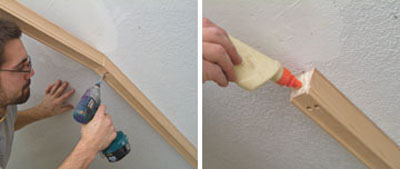 Left: We anchored the ceiling rake section of guardrail to our newly installed backer board by runnin drywall screws up through the plowed section of the guardrail. Right: Use carpenter's glue at all of the joints.