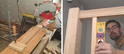Left: Save time cutting the balusters for the level section of the guardrail by setting a stop on the miter saw wing boards. Right: During the process of setting the balusters, it's important to check every 3rd or 4th baluster to make sure that everything is staying plumb.