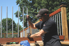 Repeat the installation procedure for each 6-foot section of railing.