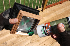 The post light mounts to the posts with a quality exterior-grade adhesive.