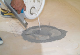 Mixing filler compounds right on the floor saves time and clean up trouble.