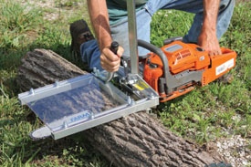 "A chainsaw mill, such as the Granberg International Small Log Mill, is an excellent choice for woodworkers, wood turners and others for converting small logs into lumber. You will need a chainsaw with at least a 20"" bar and 50cc motor."