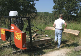 The ultimate for home-shop milling is a bandsaw mill, such as the Timber King model shown. These mills are portable, waste little wood and are relatively safe and easy to use.