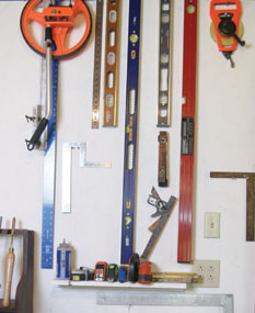 Optimize as much wall space as possible to keep tools and materials out of the way.