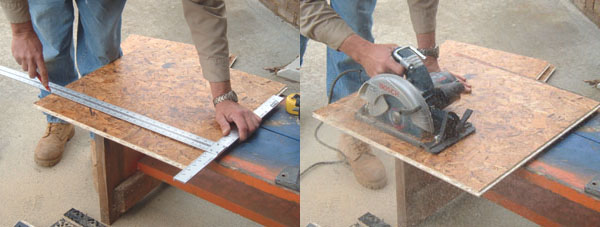 Use a circular saw and a T-square to cut the panels to size.