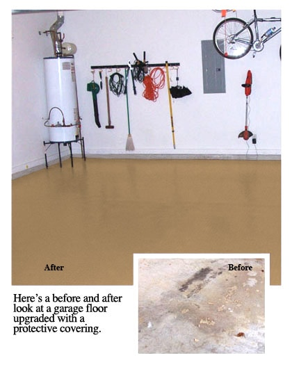 Here is a before and after look at a garage floor upgraded with a protective covering.