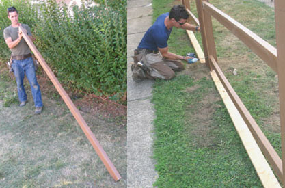 I use a 2-by on the flat as a spacer to create a weed-whacker gap at the bottom of the fence. Also, I cut the first two slats to length and install. The rest I install wild until the last two, which are also cut to fit.