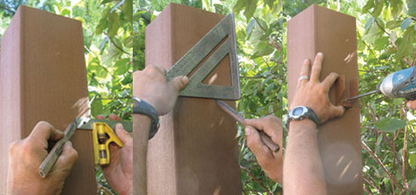 Mark the post height, mark the rail location and install the rail bracket. Or, use cleats as in a wood fence.