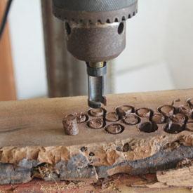 Cut the plugs using a plug cutter in a drill press.