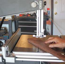 Cut the apron to shape using a bandsaw.
