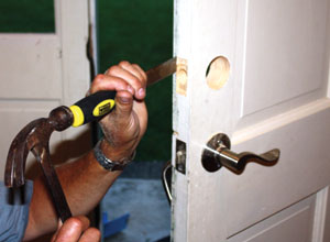 A wood chisel and hammer are required to cut the mortises for the faceplates.