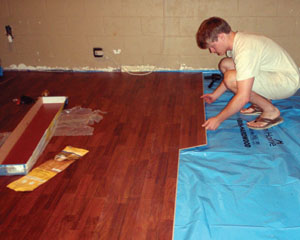 DIY Dorm Room Remodel Extreme How To - How to install moisture barrier under laminate flooring