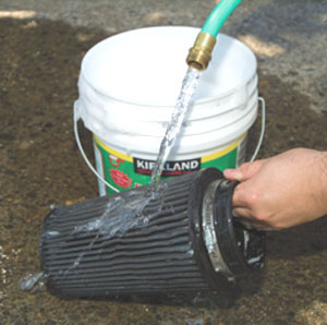 Rinse the filter with clean water.